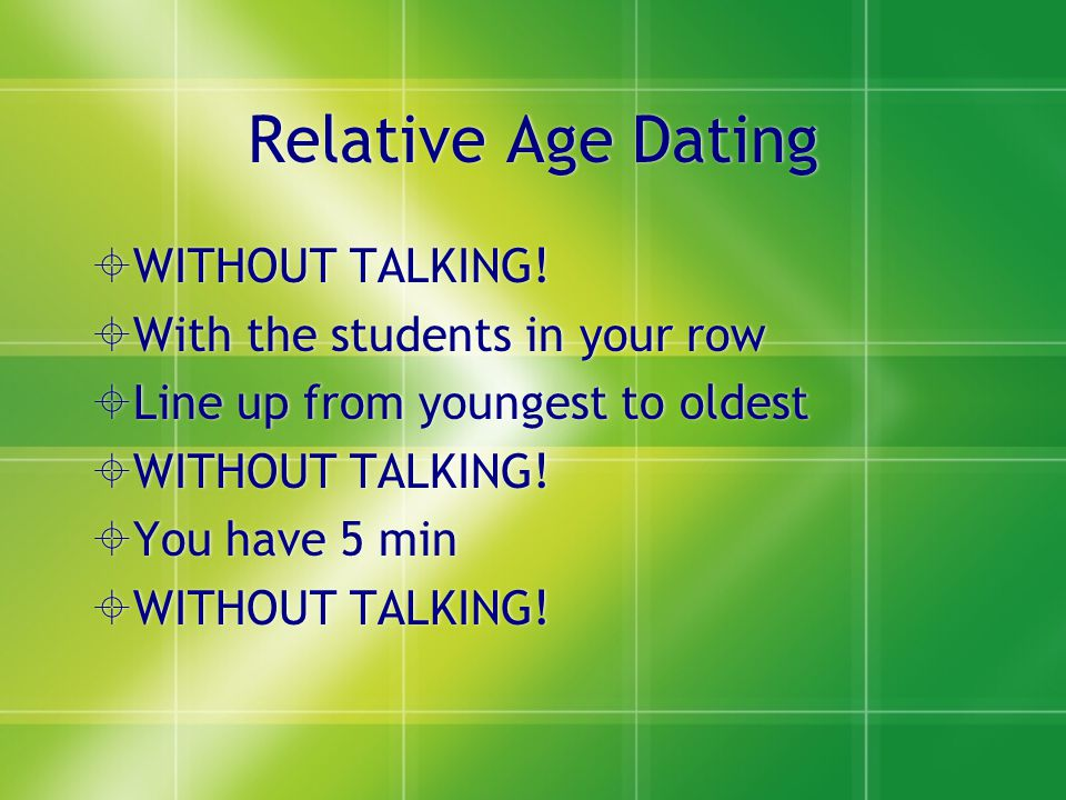 Relative Age Dating WITHOUT TALKING! With the students in your row