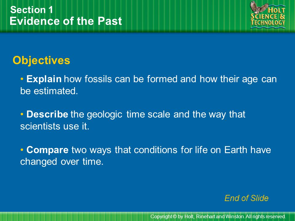 Evidence of the Past Objectives Section 1