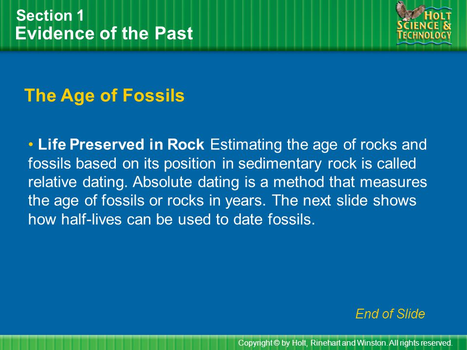 Evidence of the Past The Age of Fossils Section 1