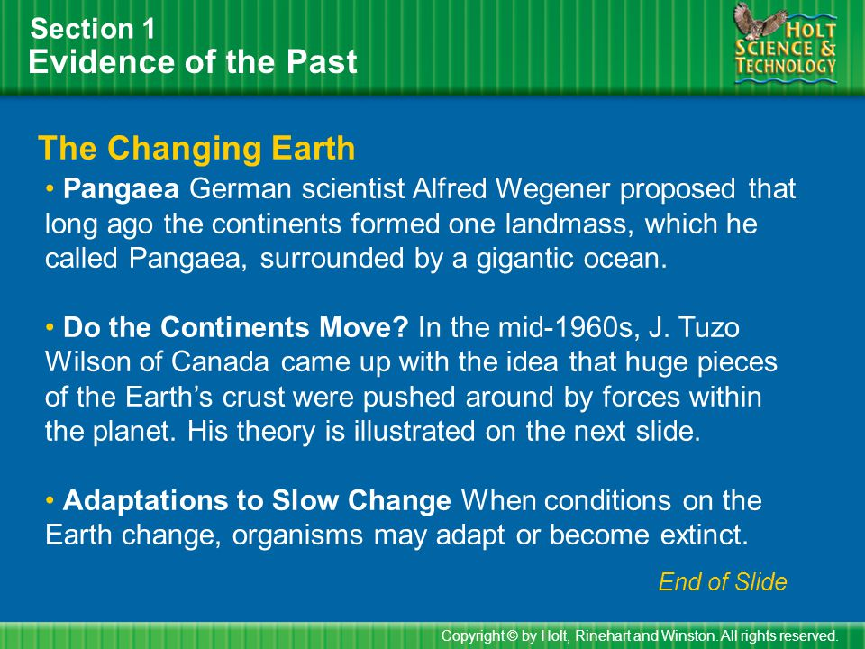 Evidence of the Past The Changing Earth Section 1