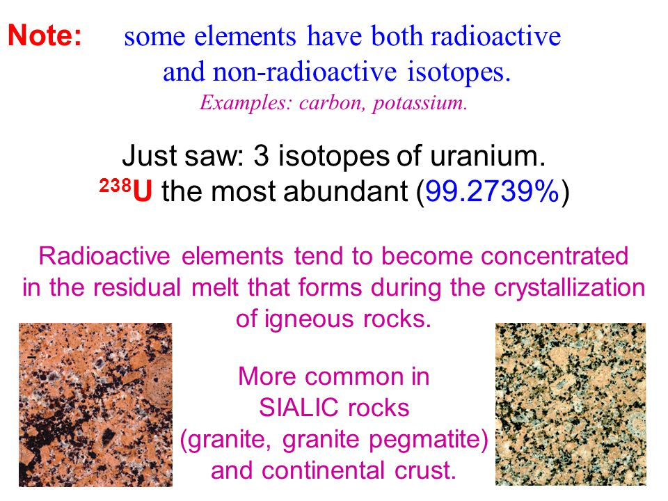 Note: some elements have both radioactive