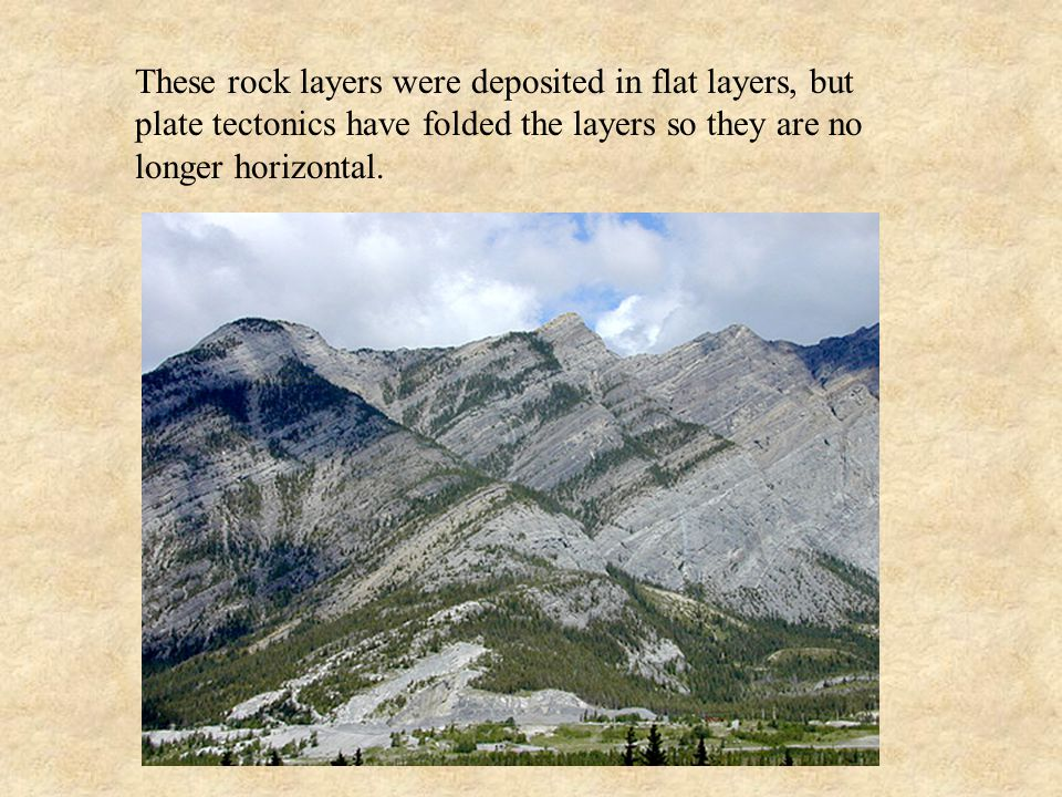 These rock layers were deposited in flat layers, but plate tectonics have folded the layers so they are no longer horizontal.
