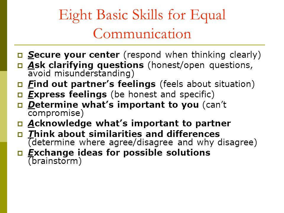 Eight Basic Skills for Equal Communication