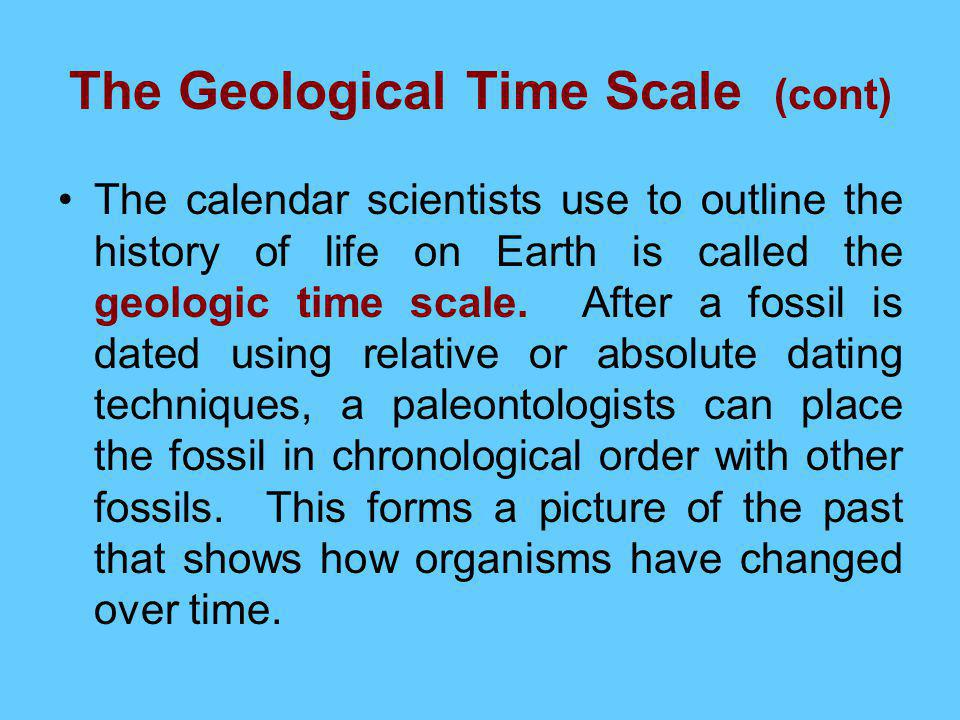 How do paleontologists use relative dating to support the geologic time scale
