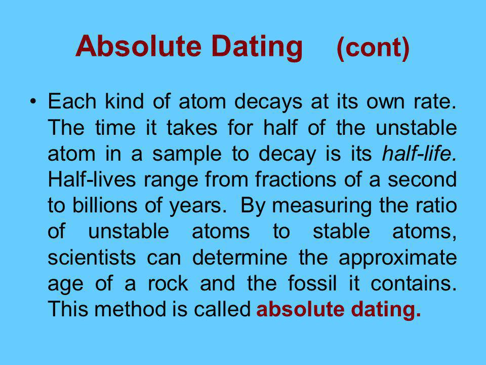 Absolute Dating (cont)