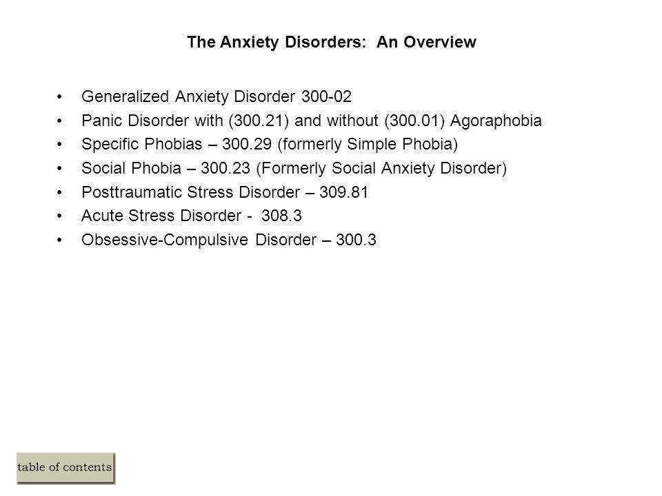 The Anxiety Disorders: An Overview