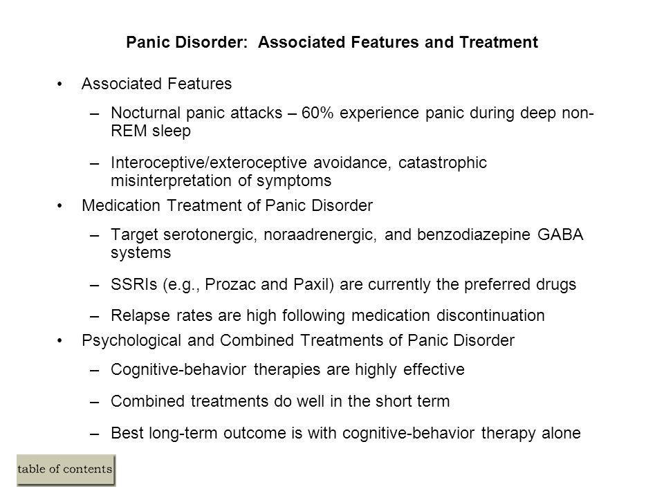 Panic Disorder: Associated Features and Treatment