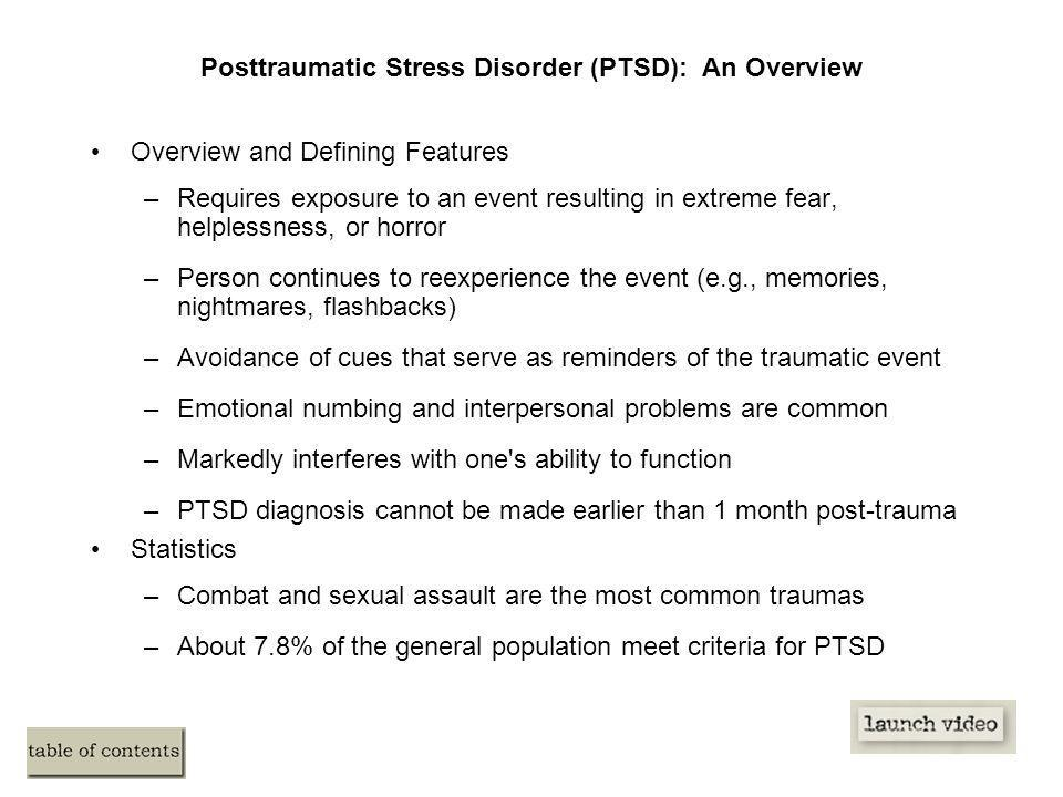 an overview of the post traumatic stress disorder Discover the symptoms, causes, diagnosis advice, treatment options and related  conditions of ptsd.