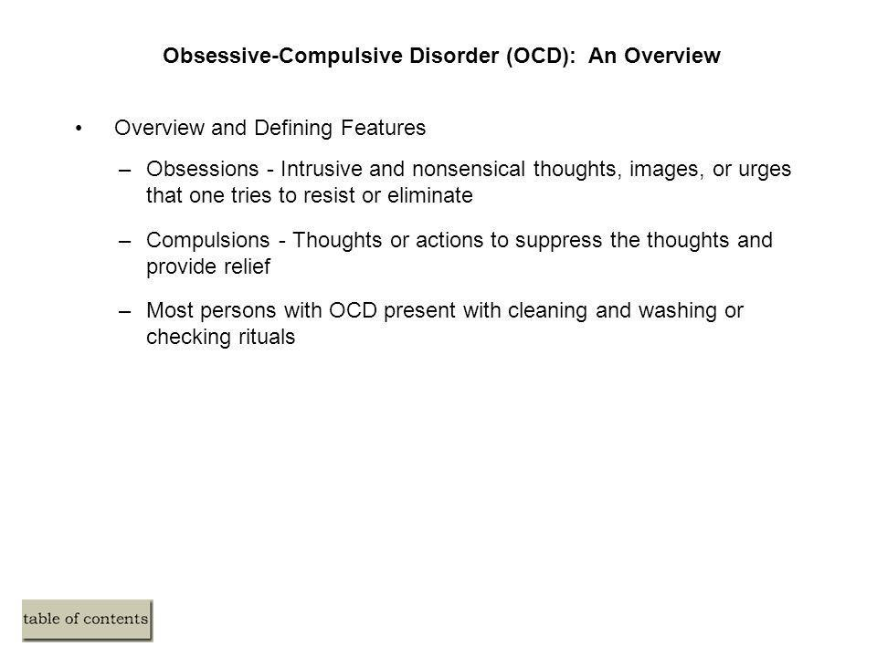 an overview of obsessive compulsive disorder