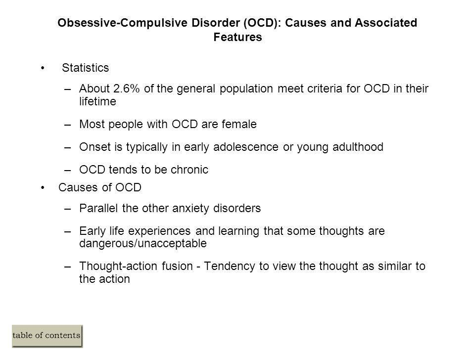 Obsessive-Compulsive Disorder (OCD): Causes and Associated Features