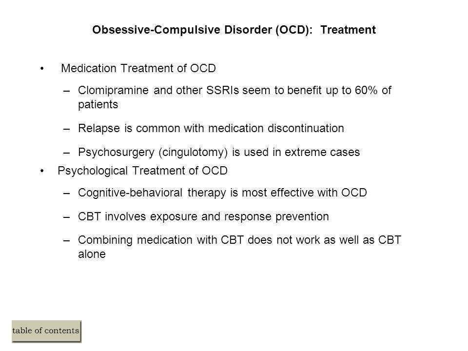 Obsessive-Compulsive Disorder (OCD): Treatment