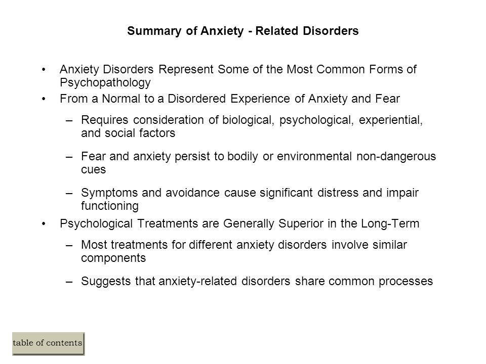 Summary of Anxiety - Related Disorders