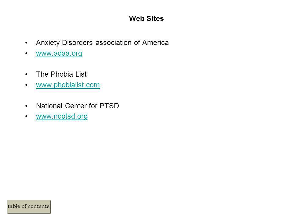Web Sites Anxiety Disorders association of America. www.adaa.org. The Phobia List. www.phobialist.com.