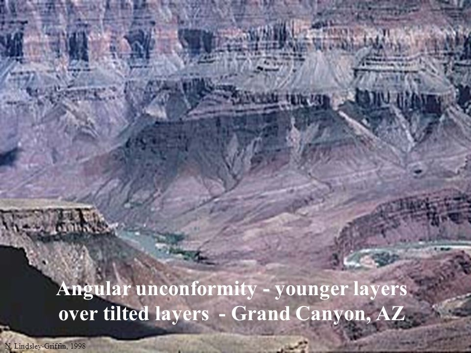 Angular unconformity - younger layers over tilted layers - Grand Canyon, AZ