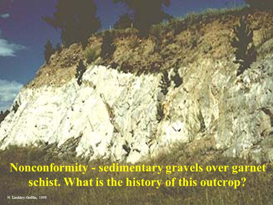Nonconformity - sedimentary gravels over garnet schist