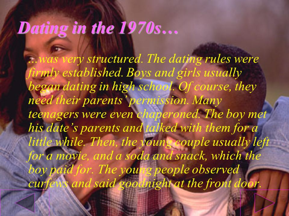 Teenage dating in the 1970s