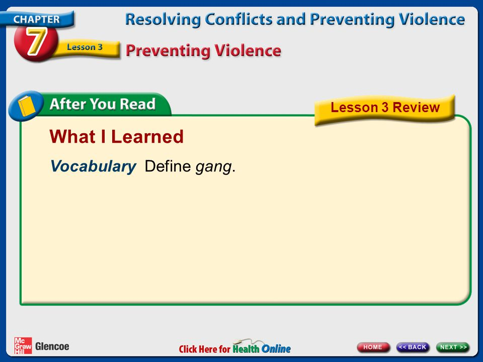 What I Learned Vocabulary Define gang. Lesson 3 Review