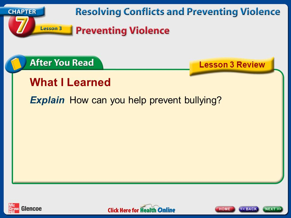 What I Learned Explain How can you help prevent bullying