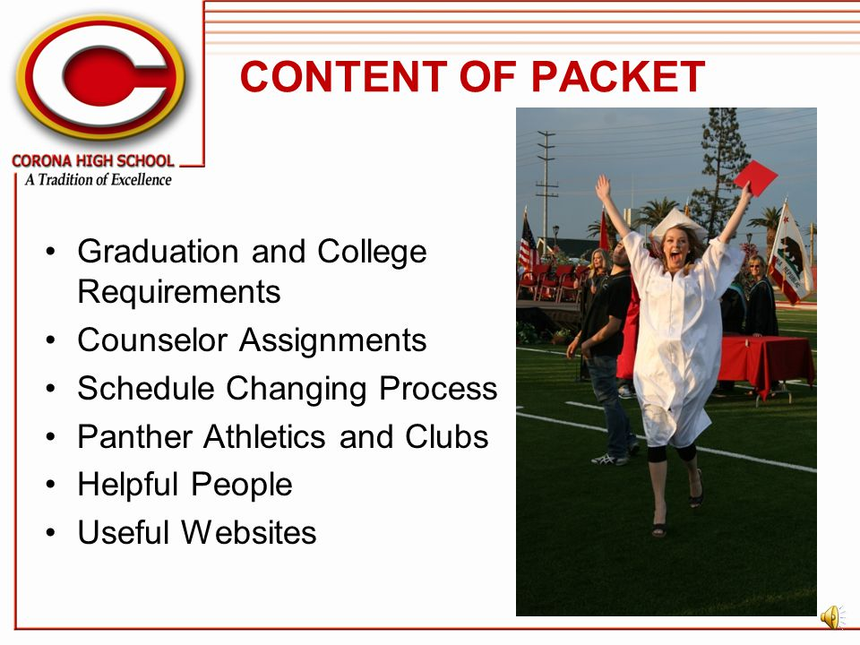 CONTENT OF PACKET Graduation and College Requirements