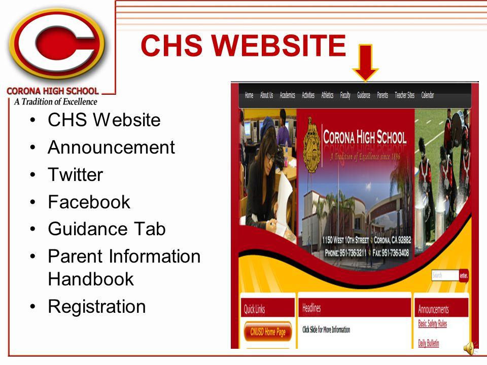 CHS WEBSITE CHS Website Announcement Twitter Facebook Guidance Tab