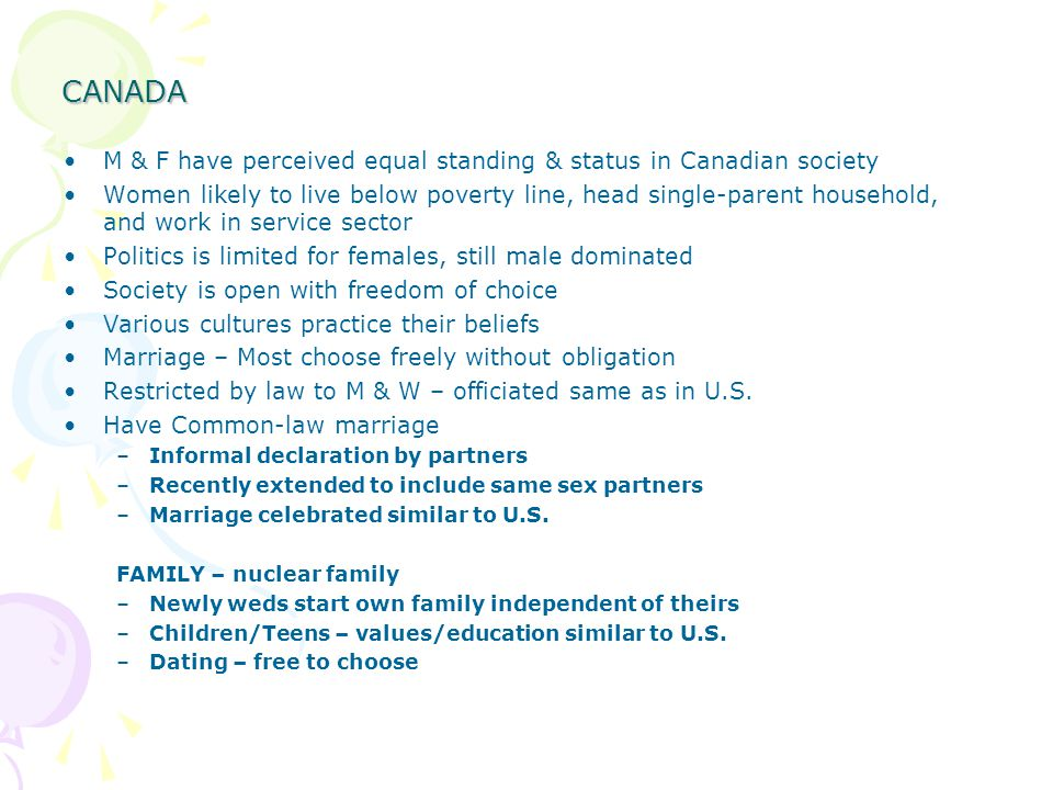 CANADA M & F have perceived equal standing & status in Canadian society.