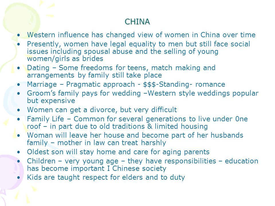 CHINA Western influence has changed view of women in China over time