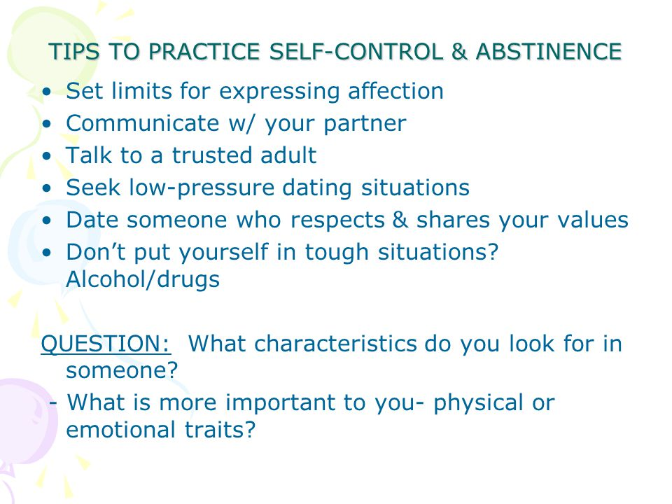 TIPS TO PRACTICE SELF-CONTROL & ABSTINENCE
