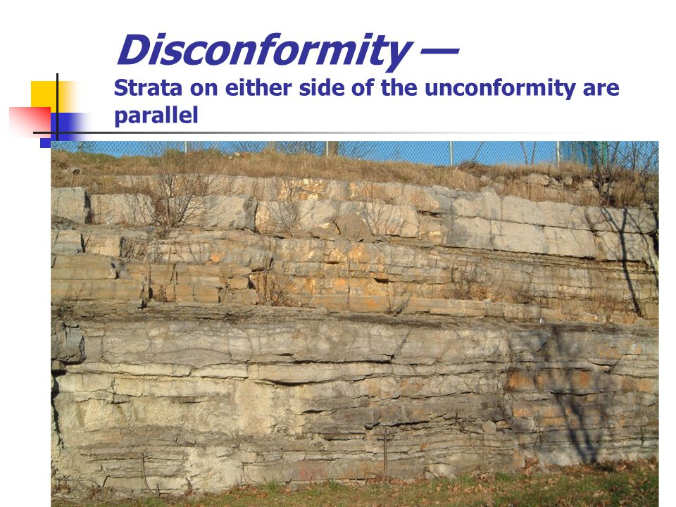 Disconformity — Strata on either side of the unconformity are parallel