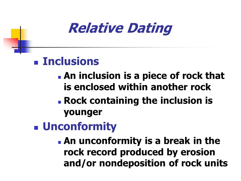 Relative Dating Inclusions Unconformity