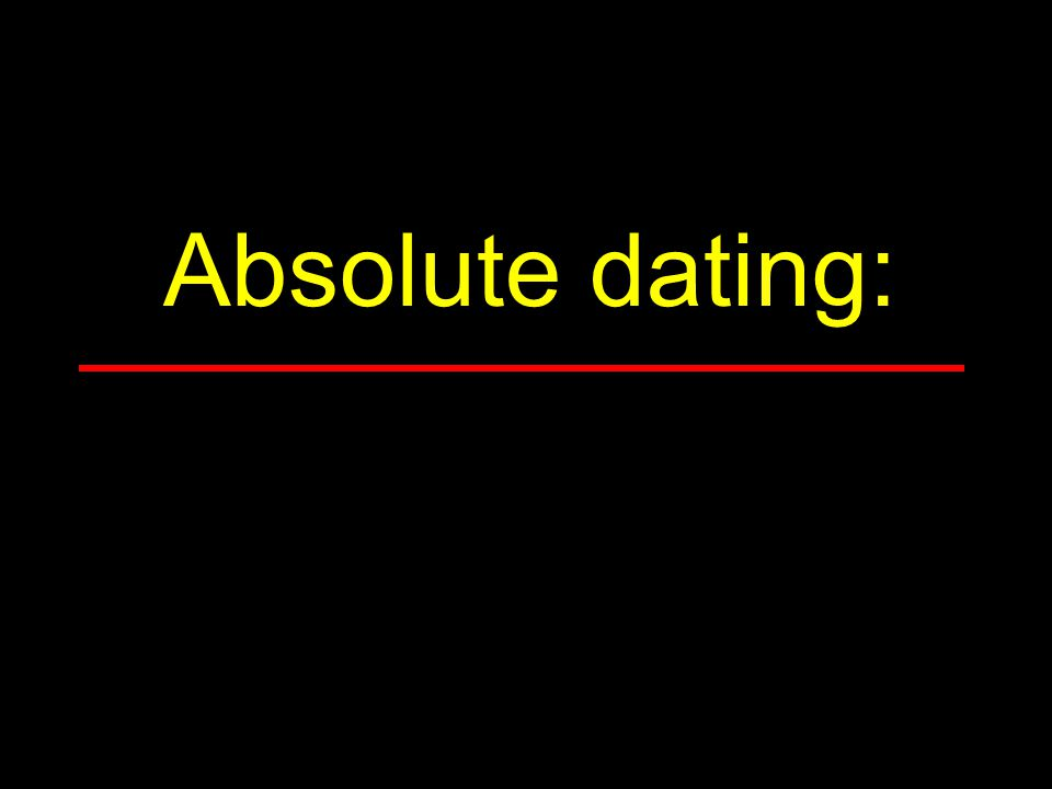 Absolute dating: