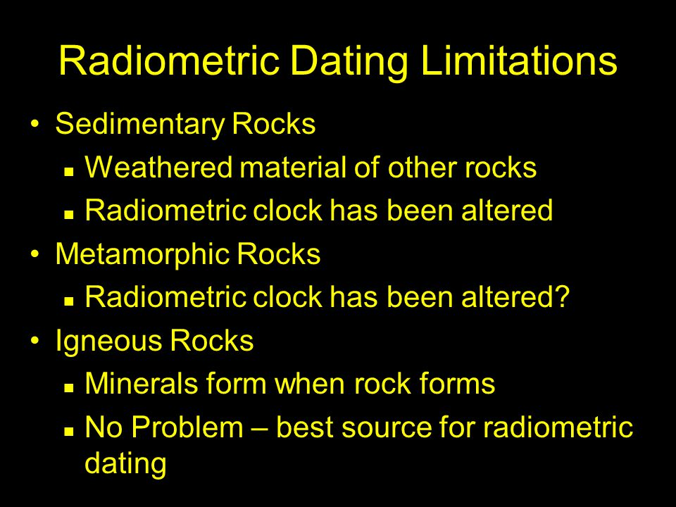 Radiometric Dating Limitations