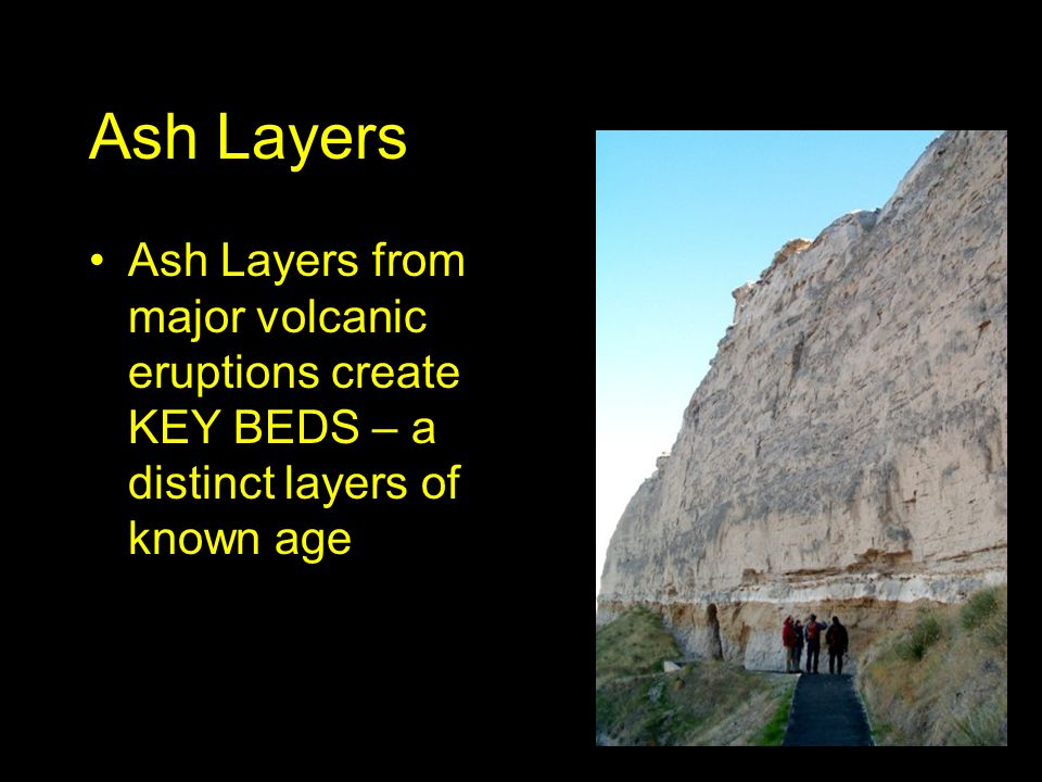Ash Layers Ash Layers from major volcanic eruptions create KEY BEDS – a distinct layers of known age.
