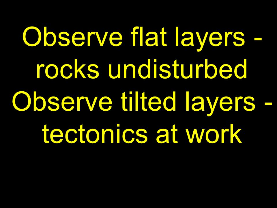 Observe flat layers - rocks undisturbed Observe tilted layers - tectonics at work
