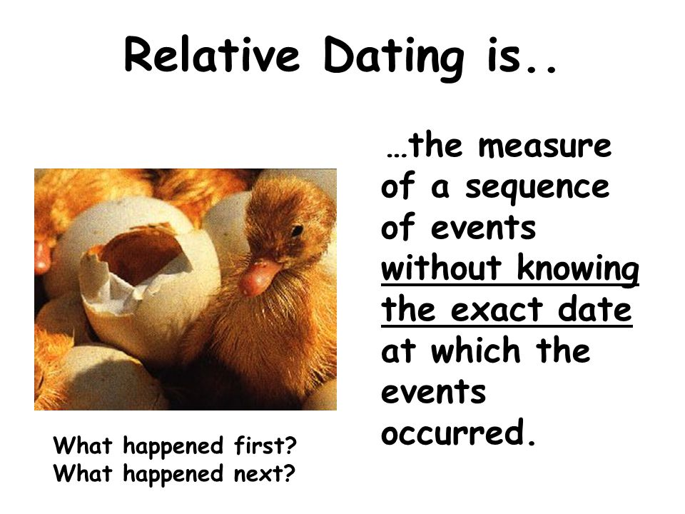Relative Dating is.. …the measure of a sequence of events without knowing the exact date at which the events occurred.