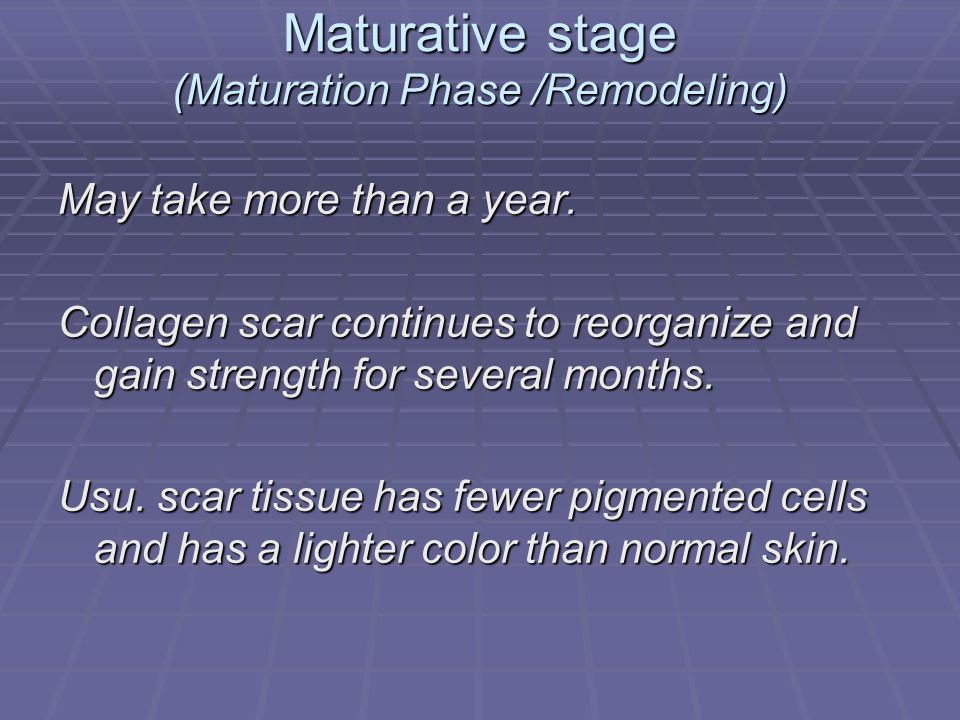 Maturative stage (Maturation Phase /Remodeling)