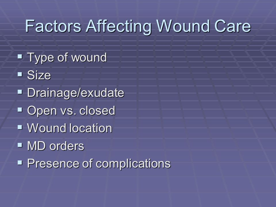 Factors Affecting Wound Care