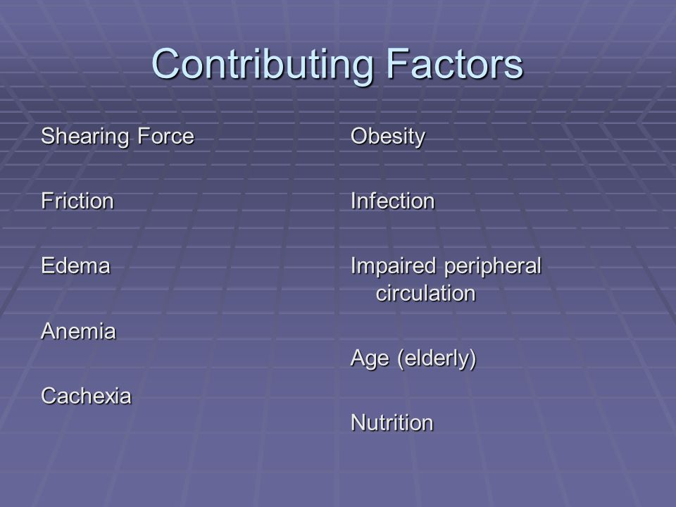 Contributing Factors Shearing Force Friction Edema Anemia Cachexia
