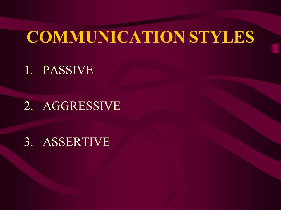 COMMUNICATION STYLES PASSIVE AGGRESSIVE ASSERTIVE