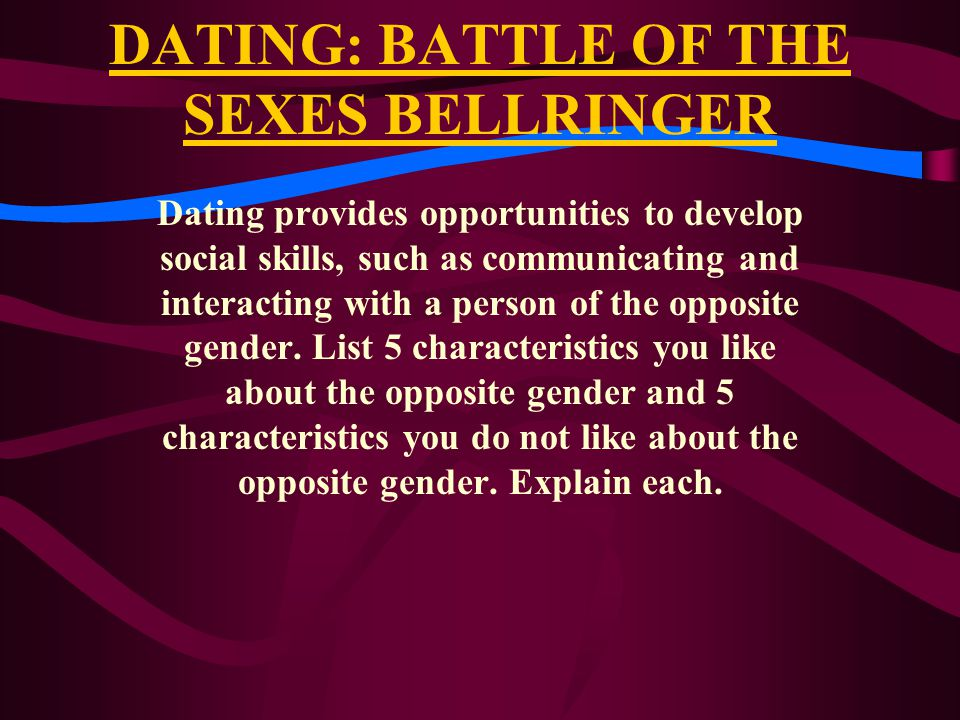 DATING: BATTLE OF THE SEXES BELLRINGER
