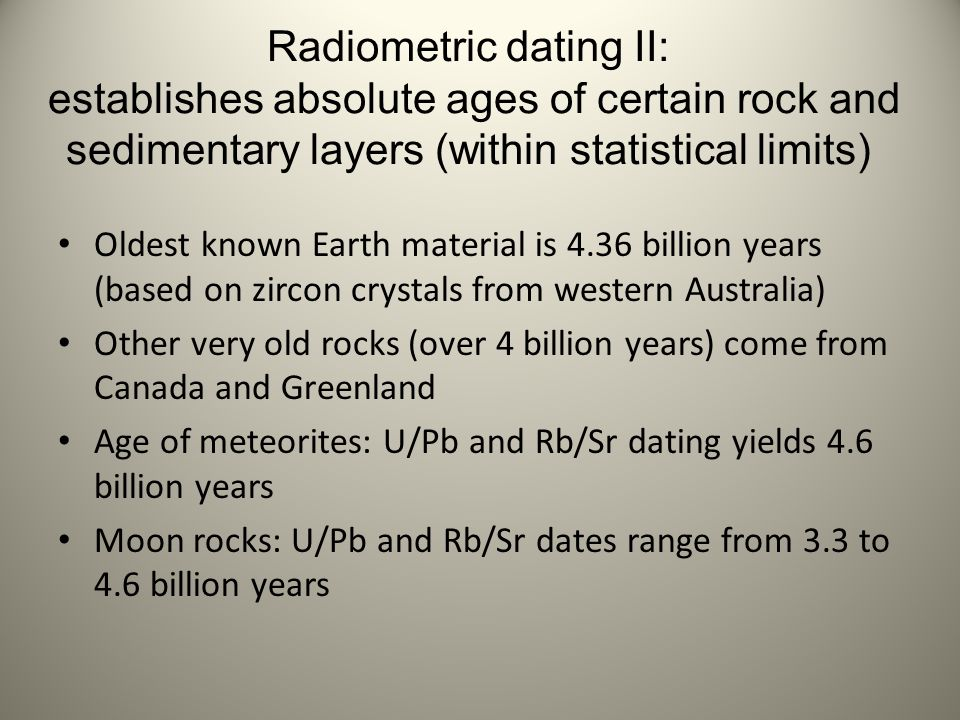 radiometric dating establishes the age of the earth as Quote from wikipedia on radiometric dating: radiometric dating is a technique used to date materials,  including the age of the earth itself,.