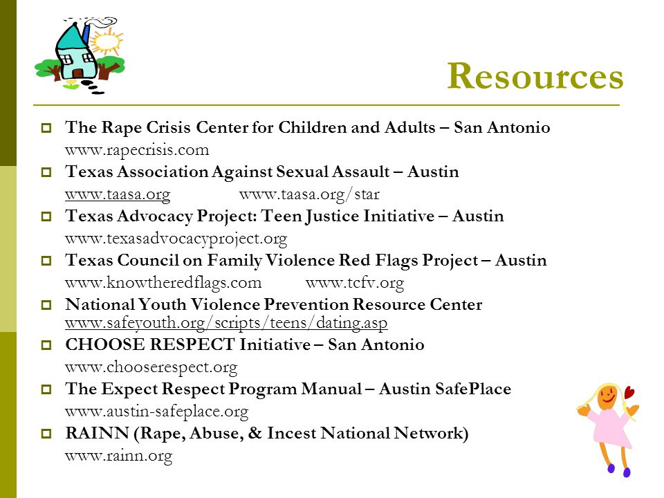 Resources The Rape Crisis Center for Children and Adults – San Antonio