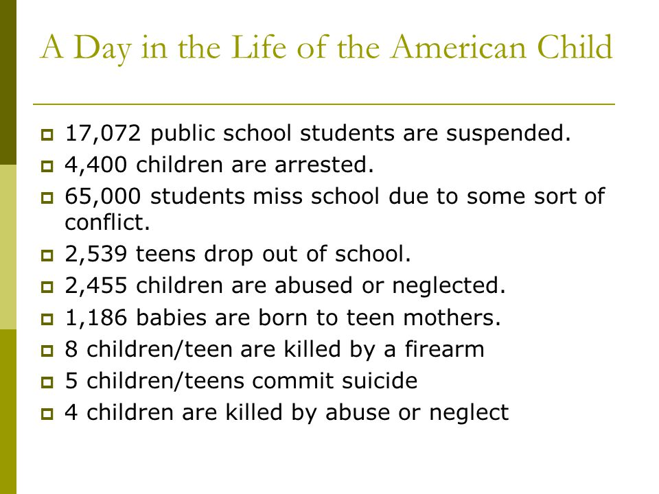A Day in the Life of the American Child
