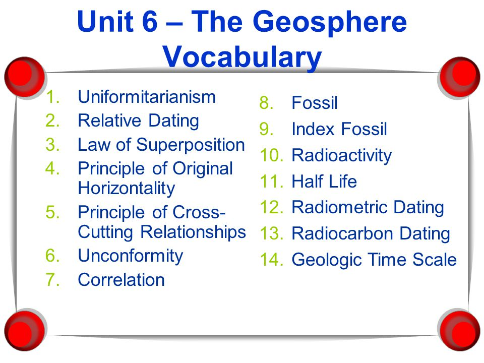 Unit 6 – The Geosphere Vocabulary