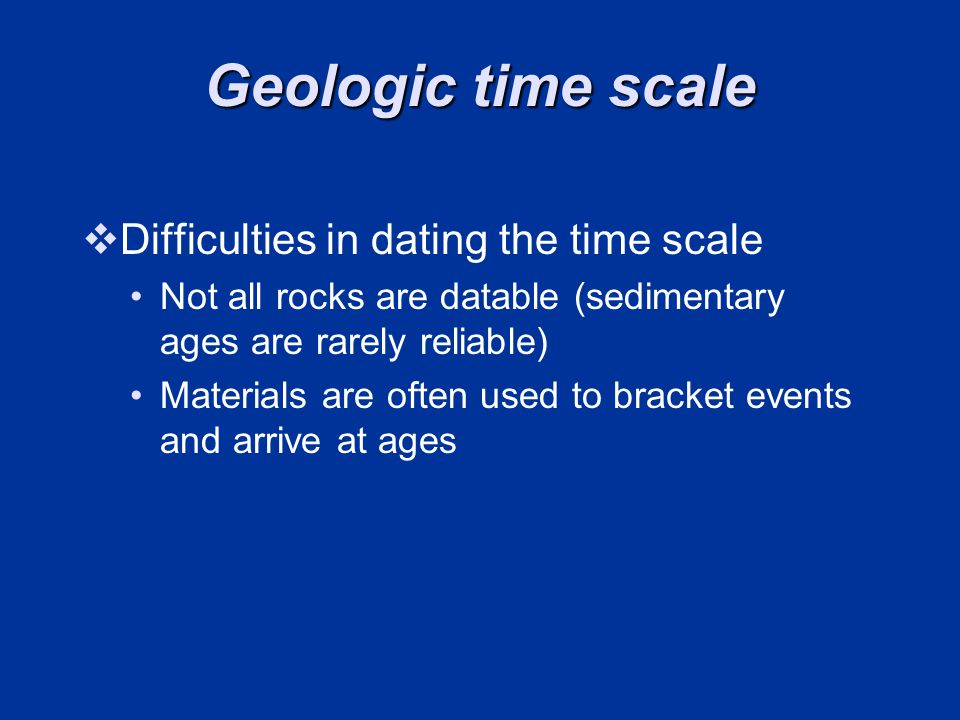 Geologic time scale Difficulties in dating the time scale
