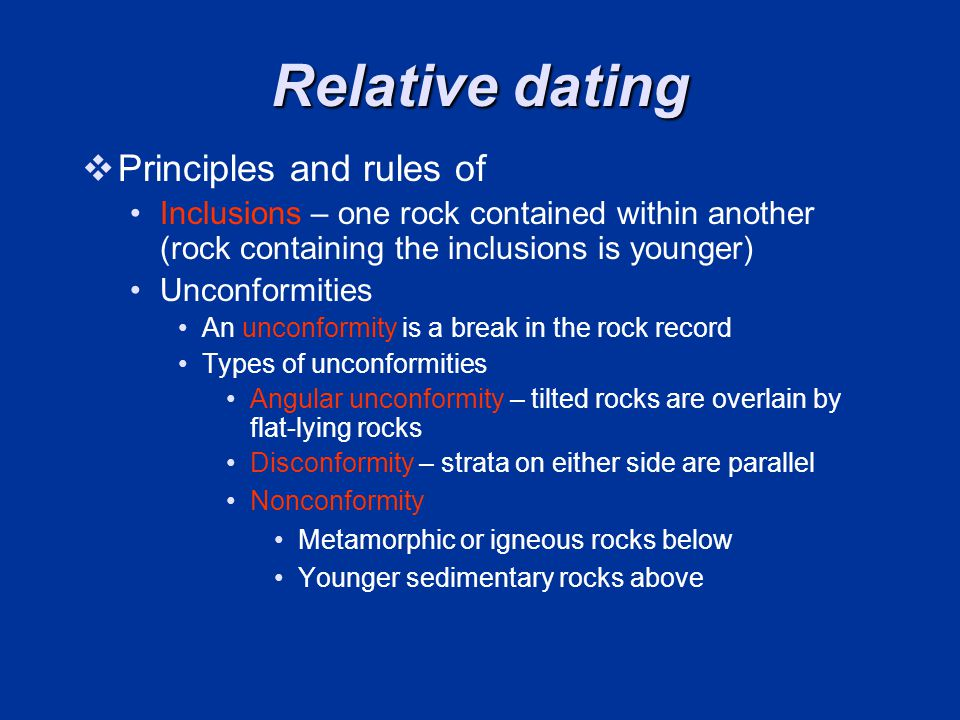 Relative dating Principles and rules of