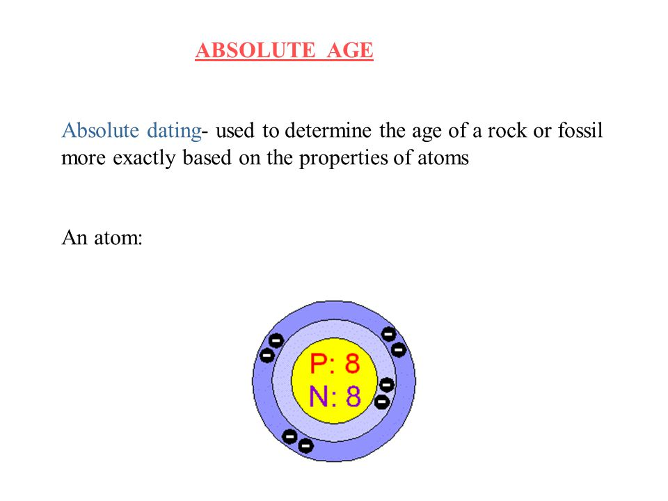 ABSOLUTE AGE Absolute dating- used to determine the age of a rock or fossil. more exactly based on the properties of atoms.