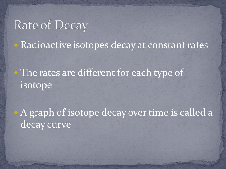 Rate of Decay Radioactive isotopes decay at constant rates