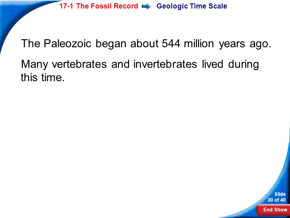 The Paleozoic began about 544 million years ago.