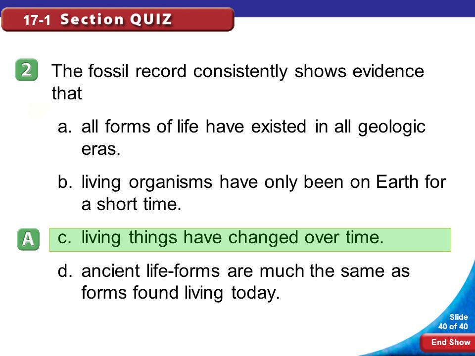 The fossil record consistently shows evidence that