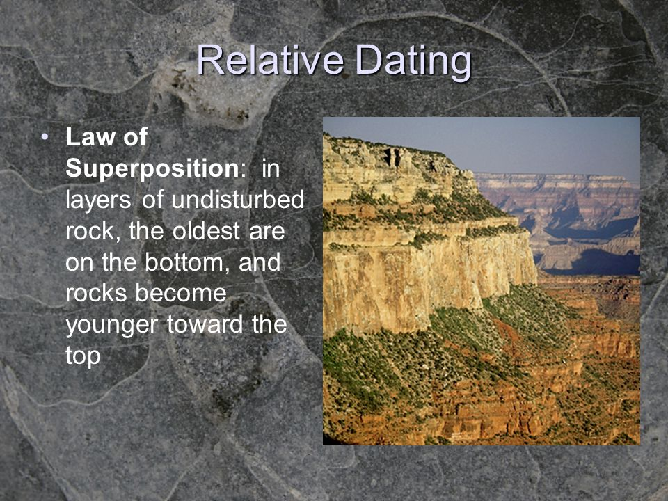 Relative Dating Law of Superposition: in layers of undisturbed rock, the oldest are on the bottom, and rocks become younger toward the top.